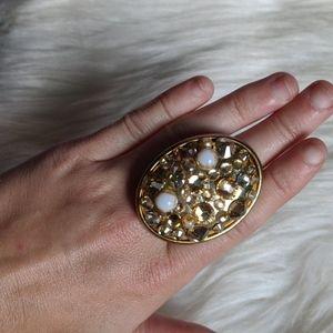 Tarina Tarantino large gold crystal ring